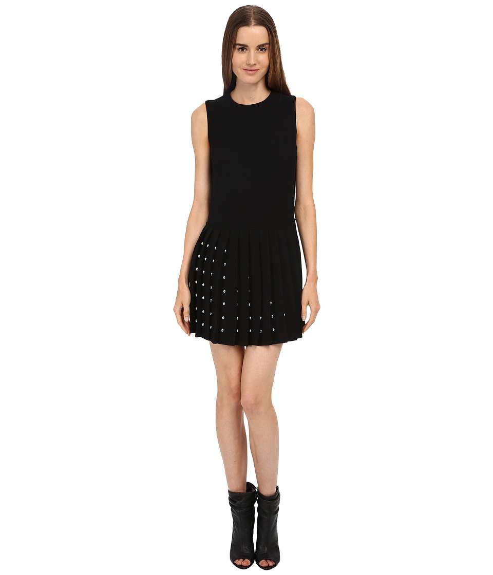 McQ - Studded Pleat Dress (Black) Women's Dress