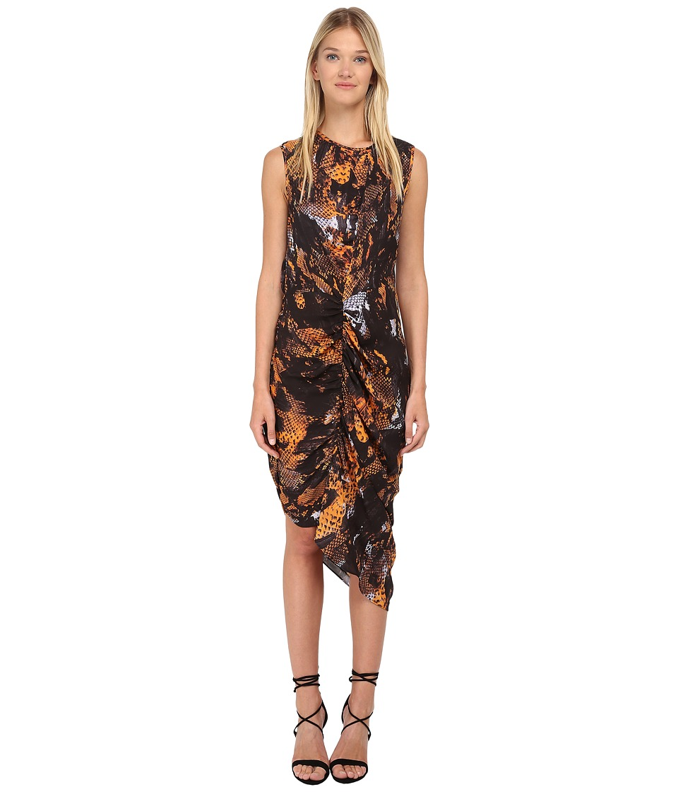 McQ - Asymmetrical Gathered Dress (Amber Snake) Women's Dress