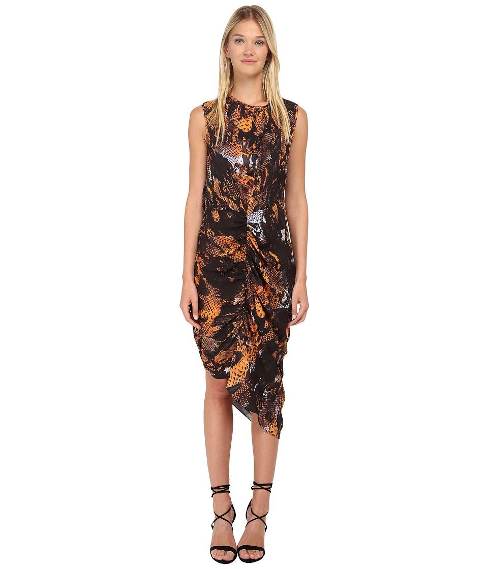 McQ - Asymmetrical Gathered Dress (Amber Snake) Women's Dress