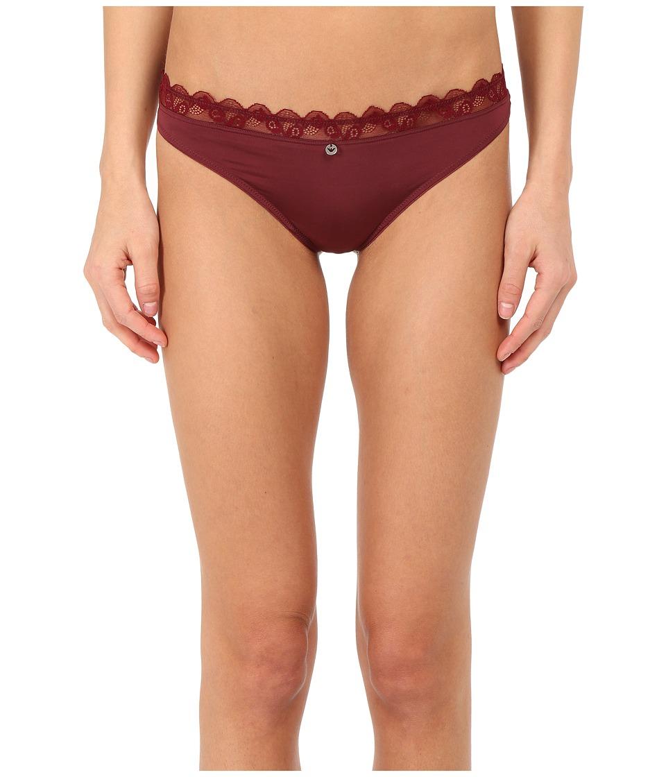 Emporio Armani - Lace Lady Microfiber Thong (Wine) Women's Underwear