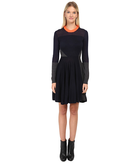 McQ - Color Block Dress (Charcoal/Navy/Reflector) Women's Dress
