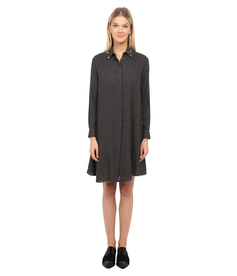 McQ - Long Sleeve Volume Shirtdress (Charcoal) Women's Dress