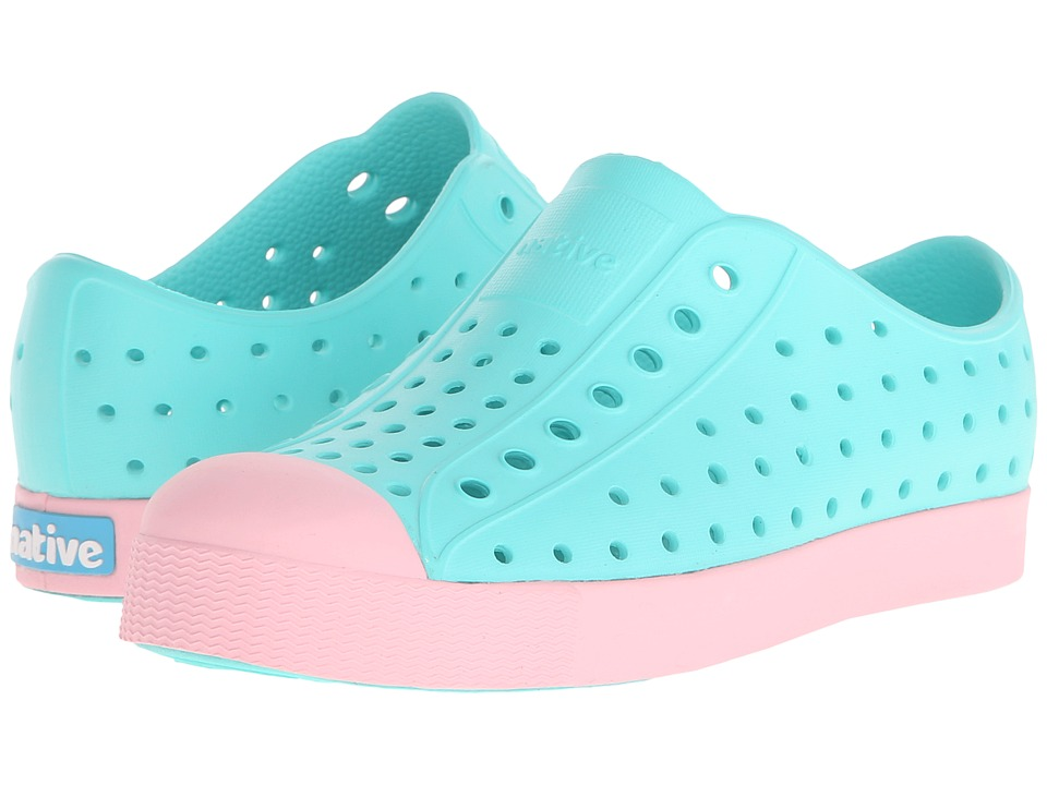 Native Kids Shoes - Jefferson (Little Kid) (Atlantis Blue/Princess Pink) Kid's Shoes