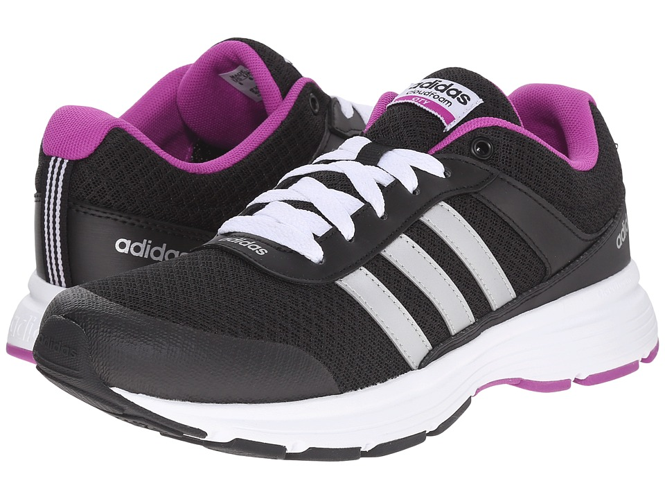 adidas - Cloudfoam VS City (Core Black/Matte Silver/Flash Pink) Women