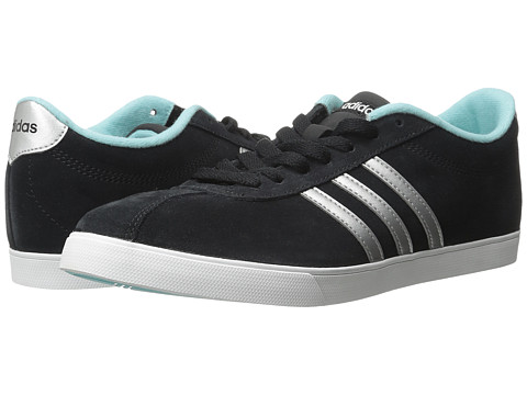 adidas - Courtset (Core Black/Matte Silver/Blue Zest) Women's Lace up casual Shoes