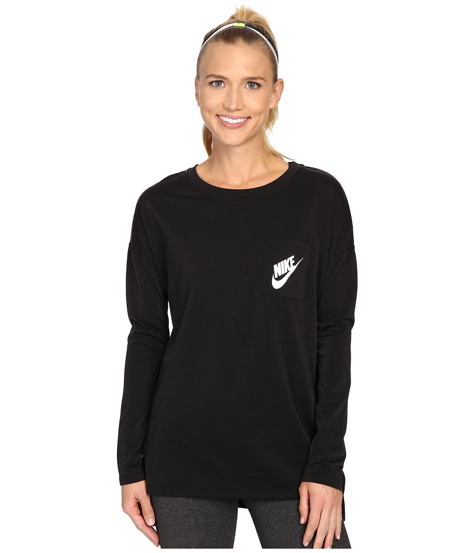 Nike - Signals Long Sleeve Tee (Black/Black/White) Women's Long Sleeve Pullover