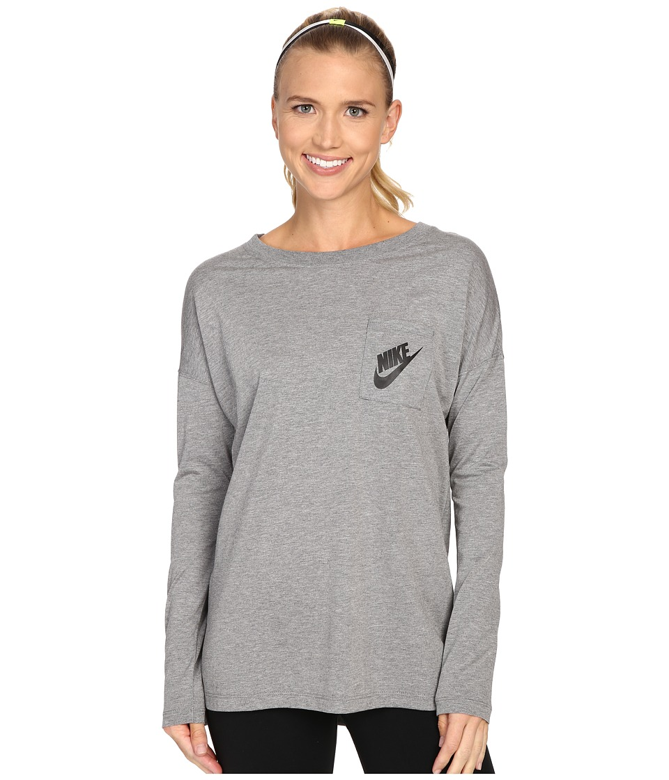 Nike - Signals Long Sleeve Tee (Carbon Heather/Carbon Heather/Black) Women's Long Sleeve Pullover