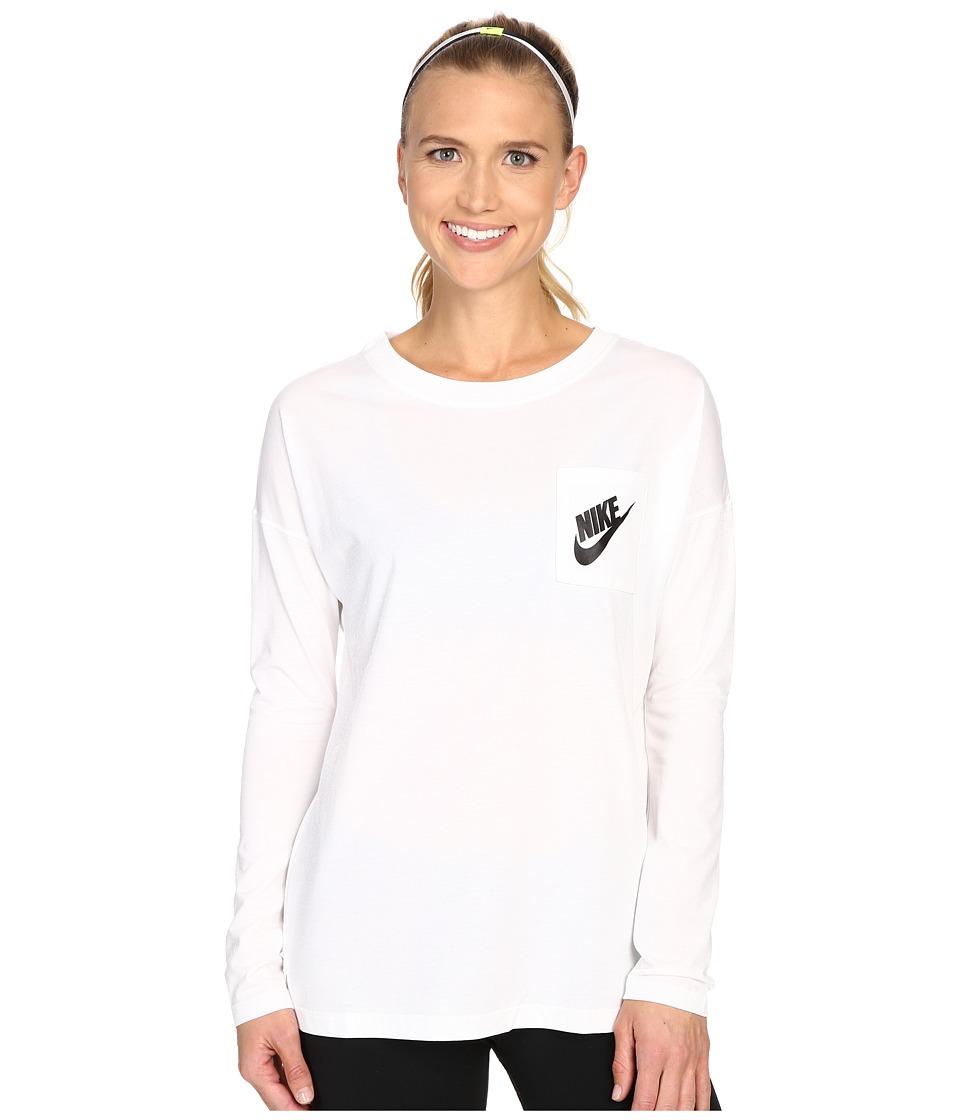 Nike - Signals Long Sleeve Tee (White/White/Black) Women's Long Sleeve Pullover
