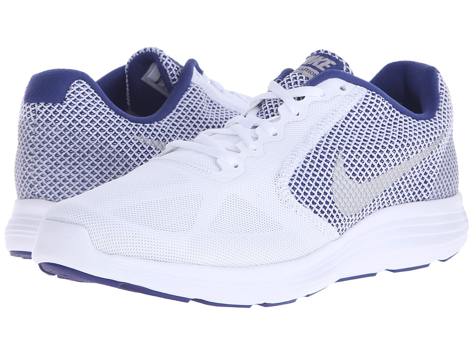 Nike - Revolution 3 (White/Deep Royal/Metallic Silver) Men's Running Shoes