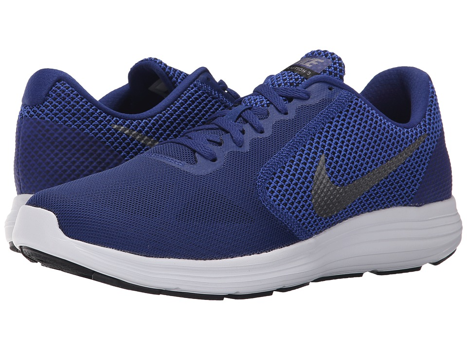 Nike - Revolution 3 (Deep Royal Blue/Black/White/Metallic Cool Grey) Men's Running Shoes