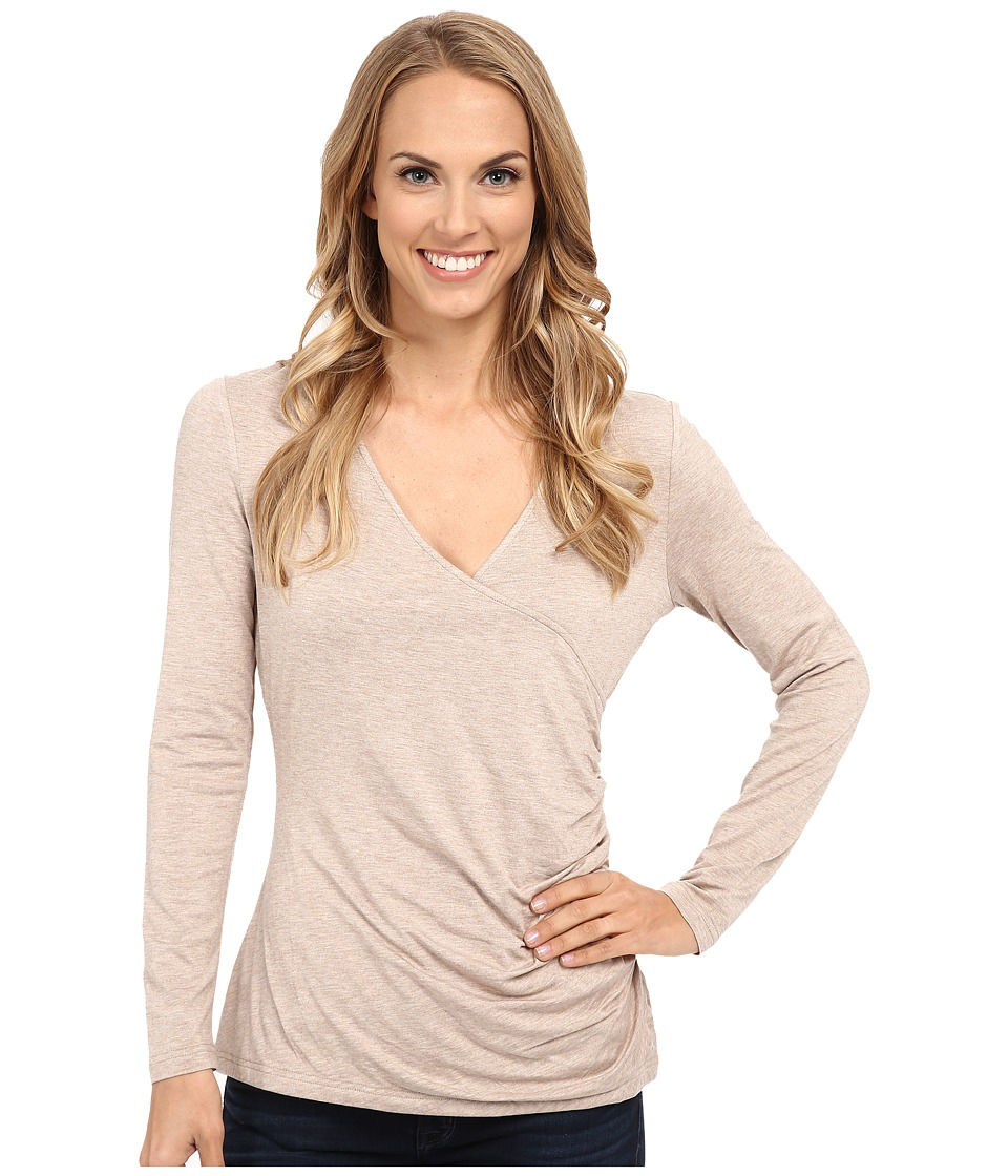 NYDJ - Knit Faux Wrap (Heather Oatmeal) Women's Clothing