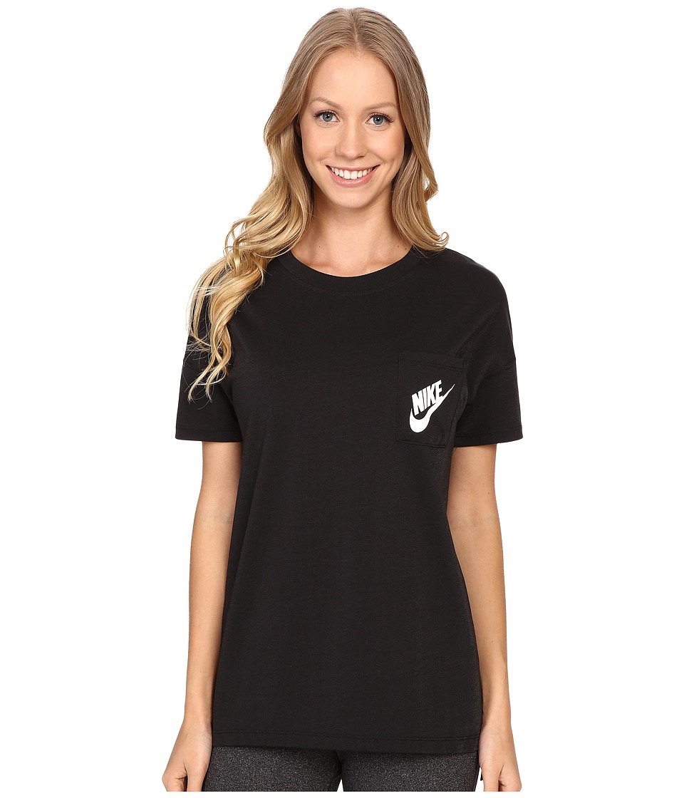 Nike - Signal Tee (Black/White) Women's Short Sleeve Pullover