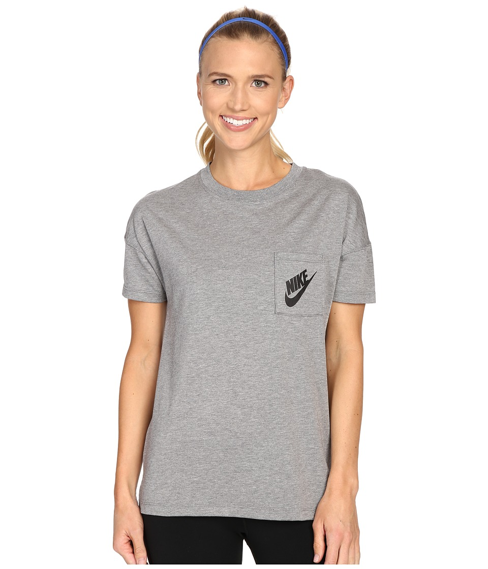 Nike - Signal Tee (Carbon Heather/Black) Women's Short Sleeve Pullover