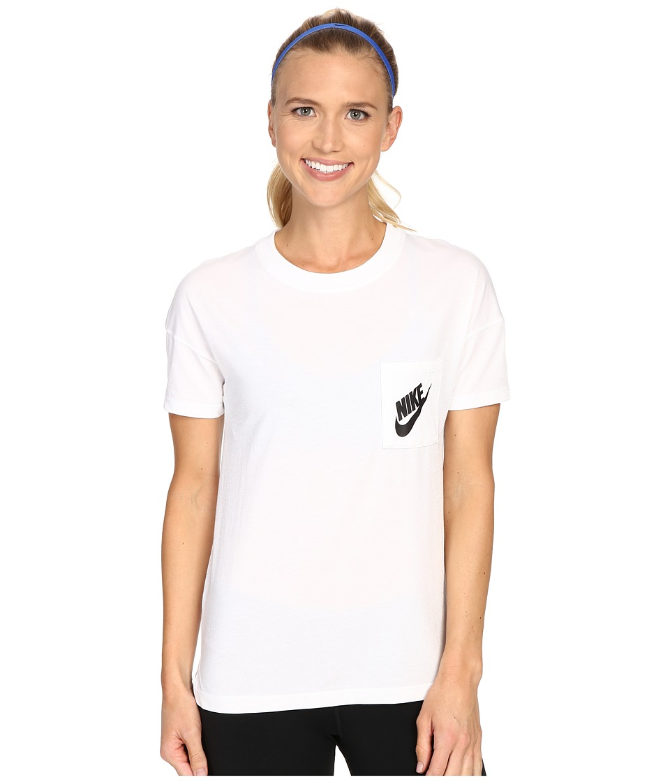Nike - Signal Tee (White/Black) Women's Short Sleeve Pullover