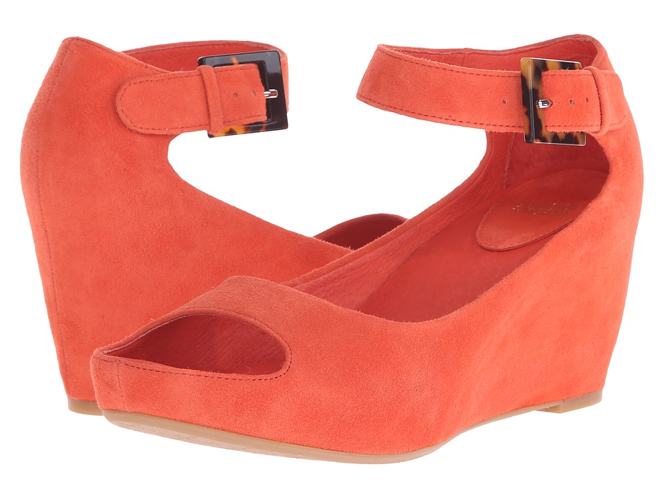 Johnston & Murphy - Tricia Ankle Strap (Orange Italian Kid Suede) Women's Shoes