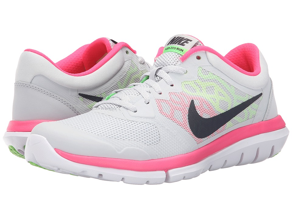 Nike - Flex 2015 RUN (Pure Platinum/Voltage Green/Hyper Pink/Metallic Hematite) Women's Running Shoes