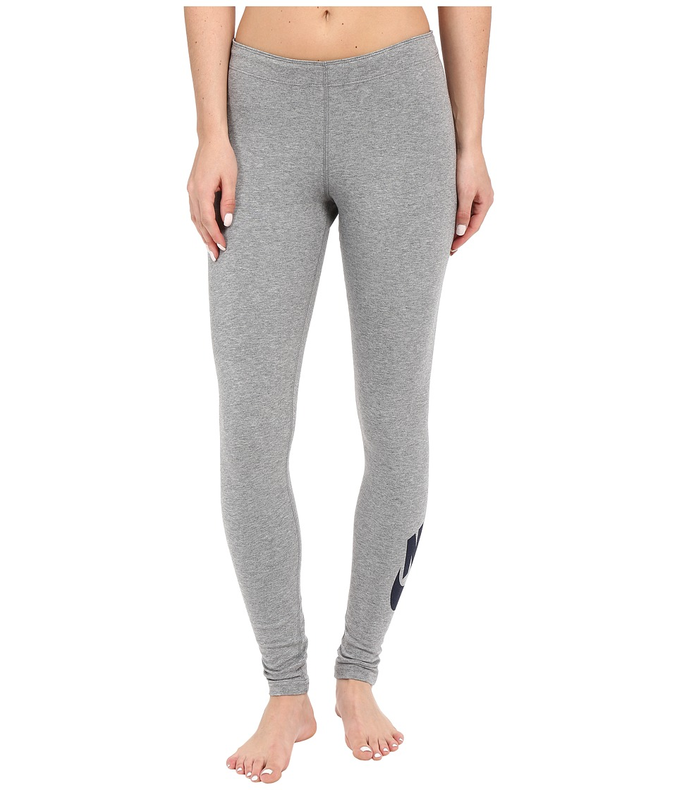 Nike - Leg-A-See Logo Legging (Carbon Heather/Obsidian) Women's Casual Pants