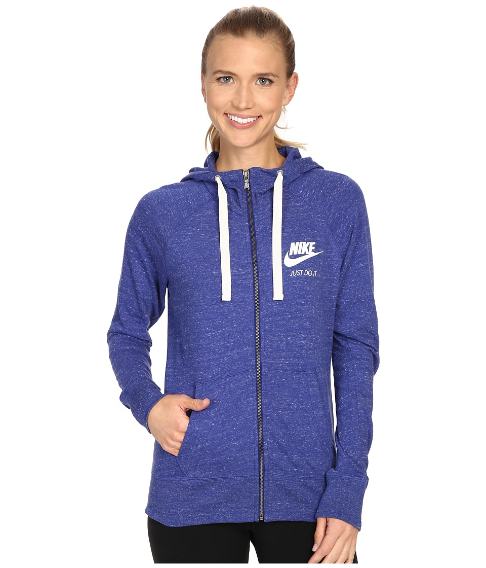 Nike - Gym Vintage Full Zip Hoodie (Deep Royal Blue/Sail) Women's Sweatshirt