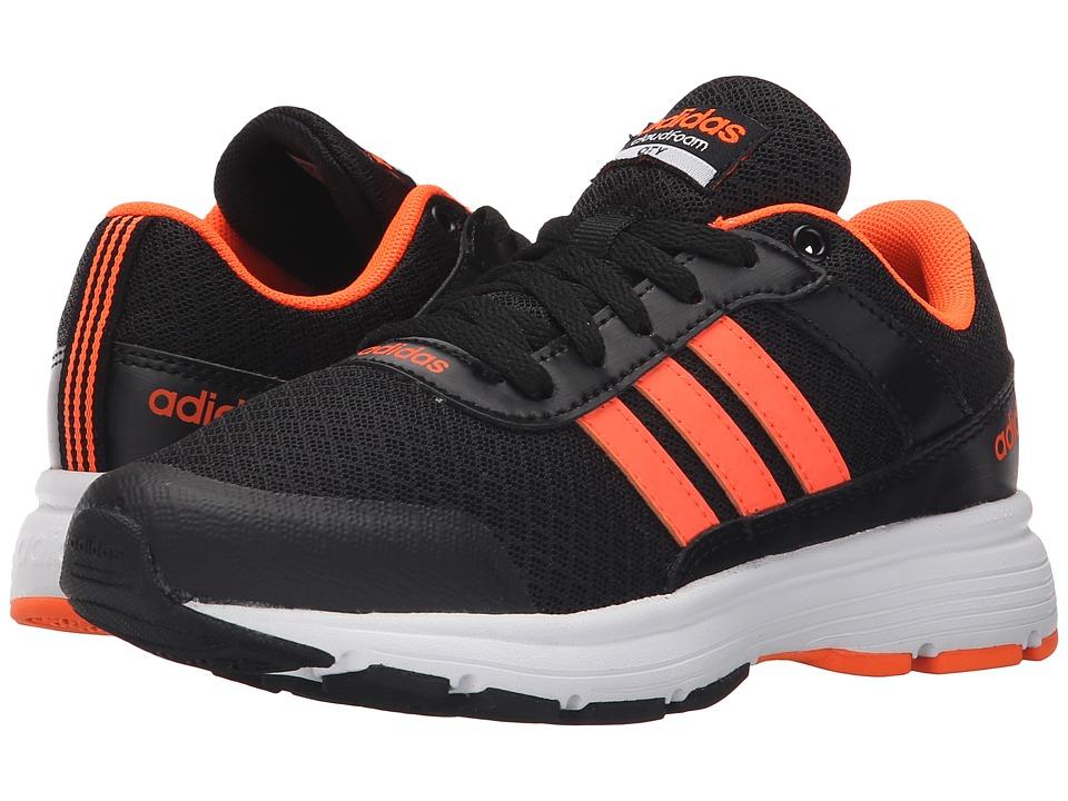 adidas Kids - Cloudfoam VS City (Little Kid/Big Kid) (Black/Solar Orange/White) Boys Shoes