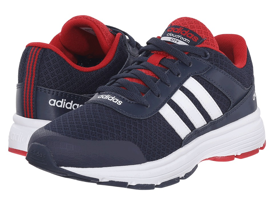 adidas Kids - Cloudfoam VS City (Little Kid/Big Kid) (Collegiate Navy/White/Power Red) Boys Shoes