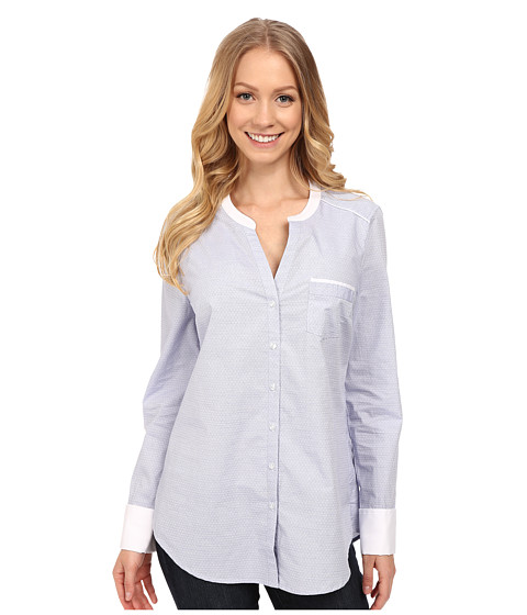 NYDJ - Fit Solution Cotton Dobby Tunic (Mid Ocean) Women's Long Sleeve Button Up