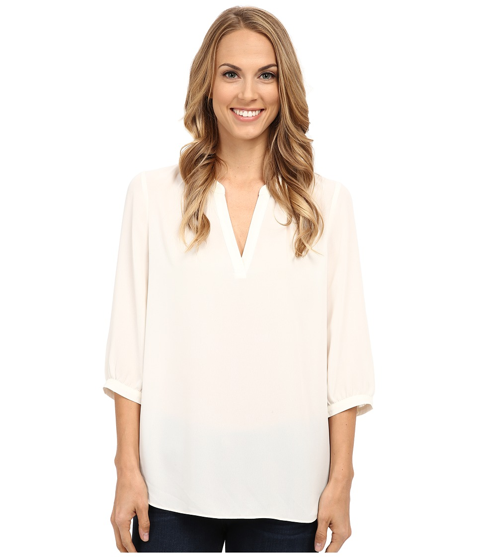 NYDJ - Elbow Sleeve Woven Pop Over (Vanilla) Women's Blouse