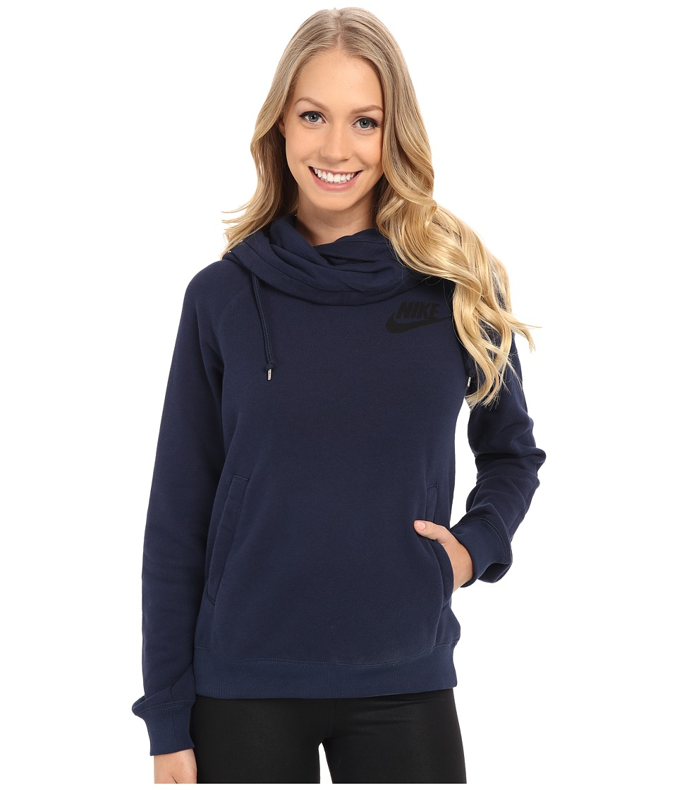 Nike - Rally Funnel Neck Hoodie (Obsidian/Obsidian/Black) Women's Sweatshirt