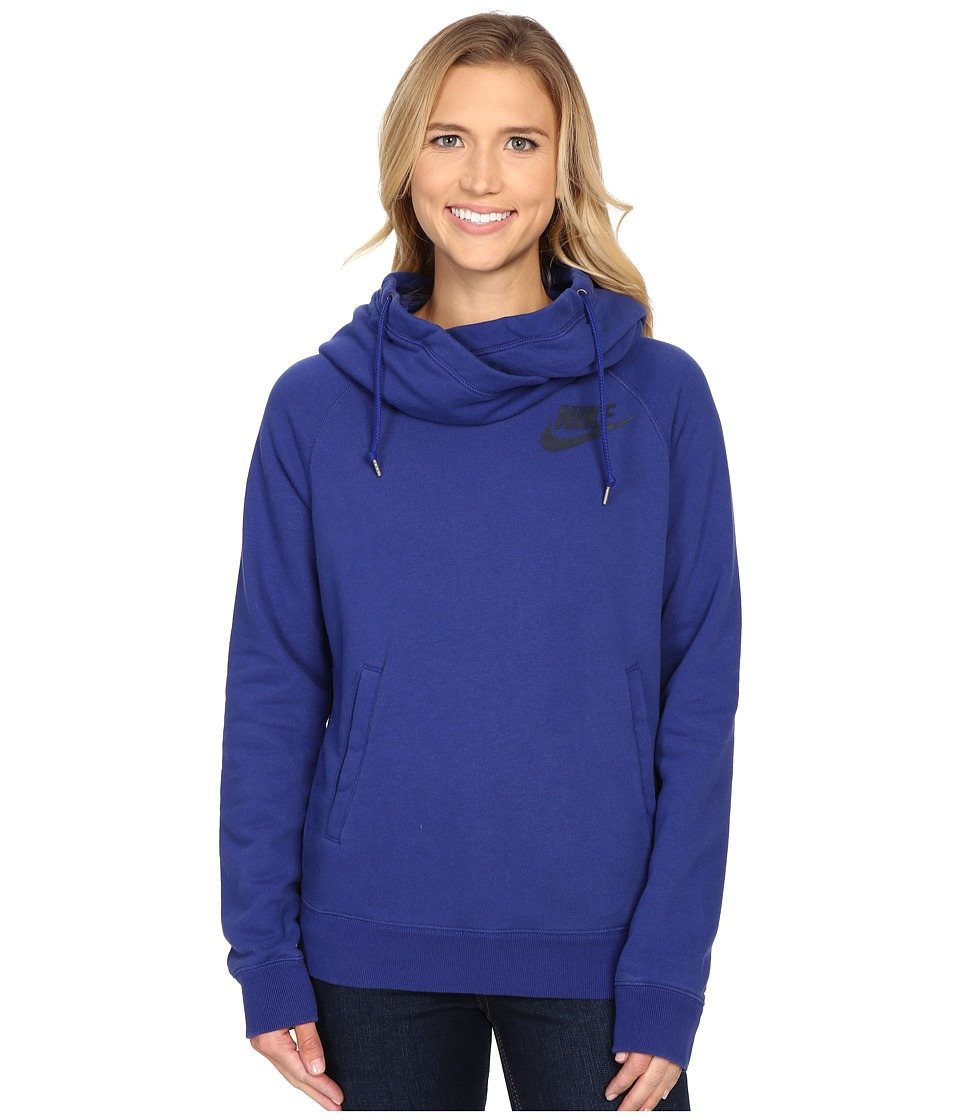 Nike - Rally Funnel Neck Hoodie (Deep Royal Blue/Deep Royal Blue/Obsidian) Women's Sweatshirt