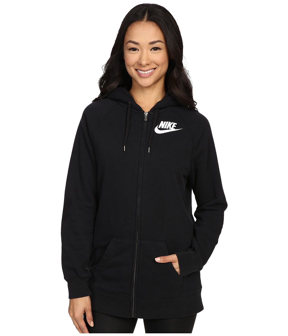 Nike - Rally Boyfriend Full-Zip Hoodie (Black/Black/White) Women's Sweatshirt