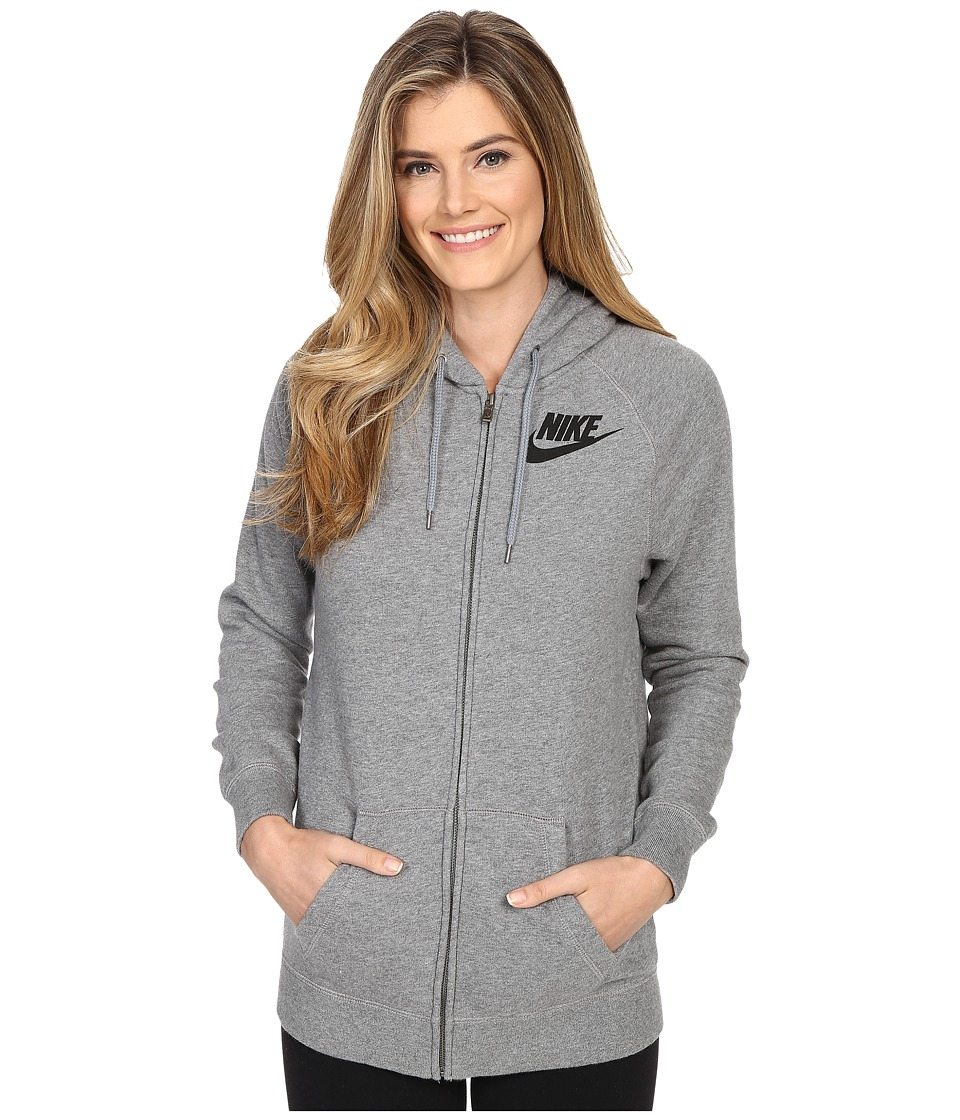 Nike - Rally Boyfriend Full-Zip Hoodie (Carbon Heather/Cool Grey/Black) Women's Sweatshirt