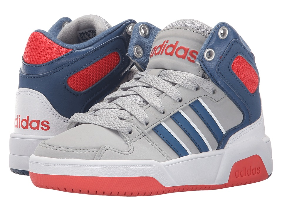 adidas Kids - BB9TIS Mid (Little Kid/Big Kid) (Clear Onix/Ash Blue/Bright Red) Boys Shoes