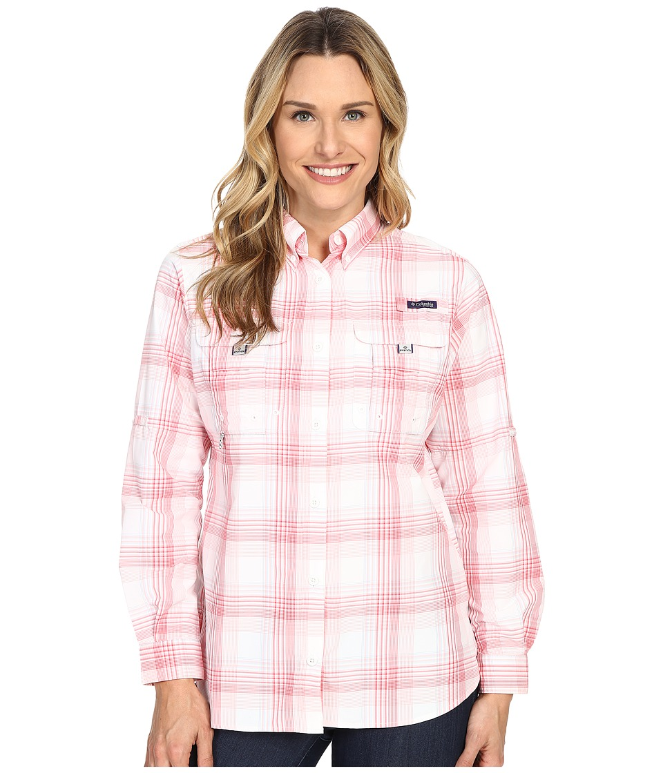 Columbia - Super Bahama L/S Shirt (Rosewater Large Plaid) Women's Long Sleeve Button Up