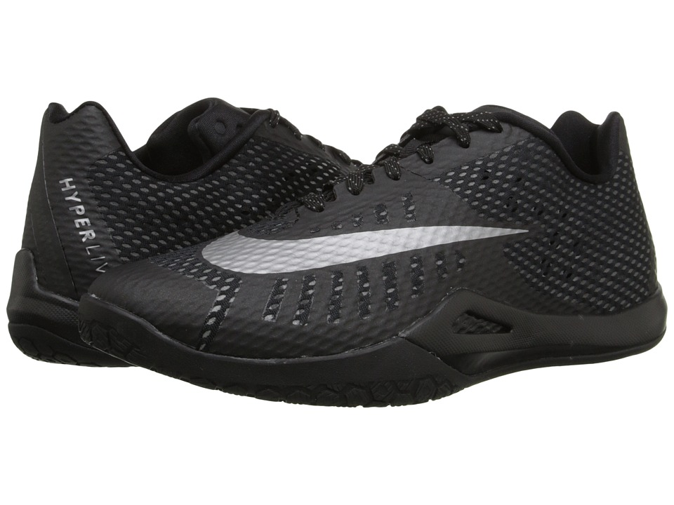 Nike - Hyperlive (Black/Dark Grey/Metallic Silver) Men's Basketball Shoes