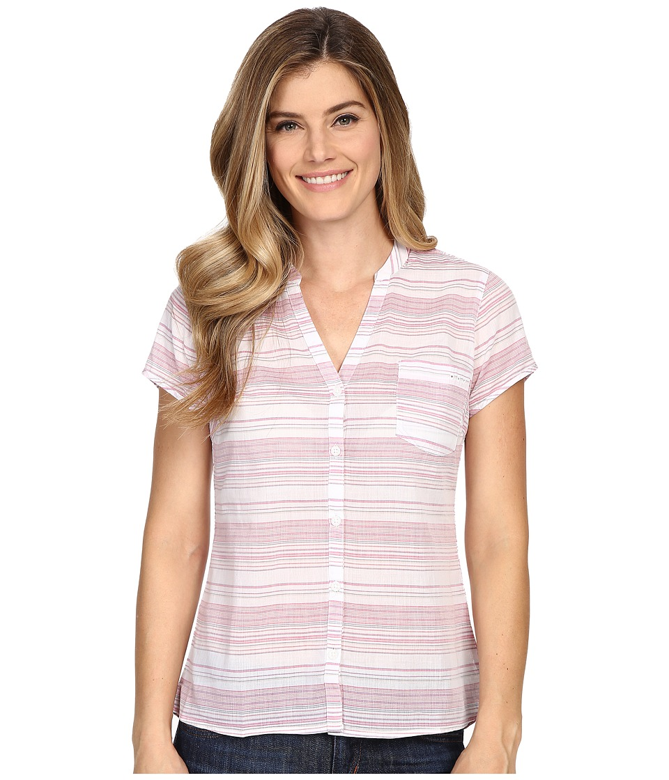 Columbia - Sun Drifter S/S Shirt (Haute Pink Stripe) Women's Short Sleeve Button Up