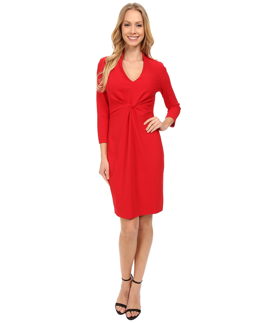 NYDJ - Christa Knotted Stretch Crepe Dress (Cardinal Red) Women's Dress