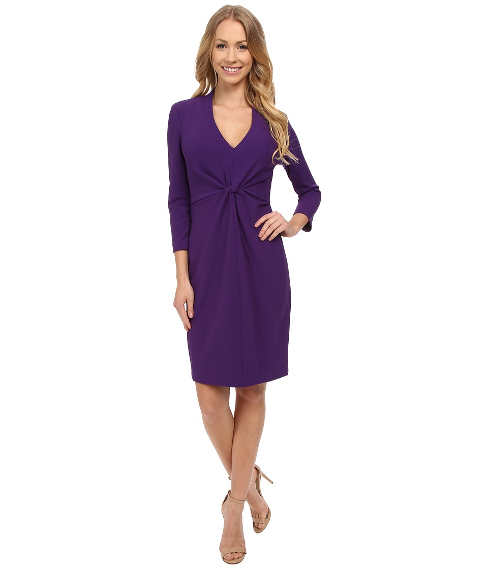 NYDJ - Christa Knotted Stretch Crepe Dress (Lunar Purple) Women's Dress