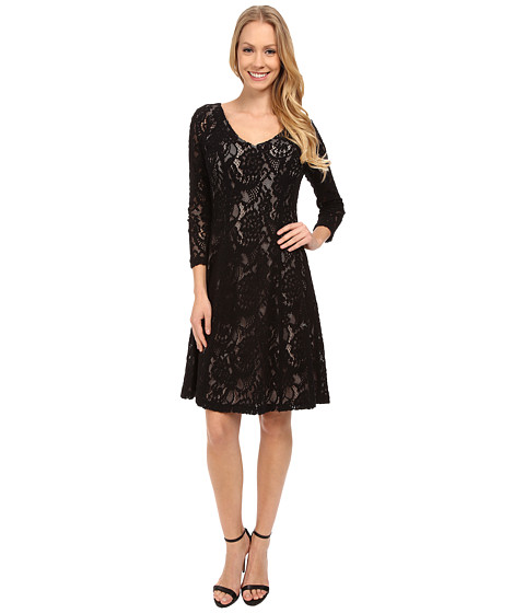 NYDJ - Amelia All Over Lace Dress (Black) Women's Dress