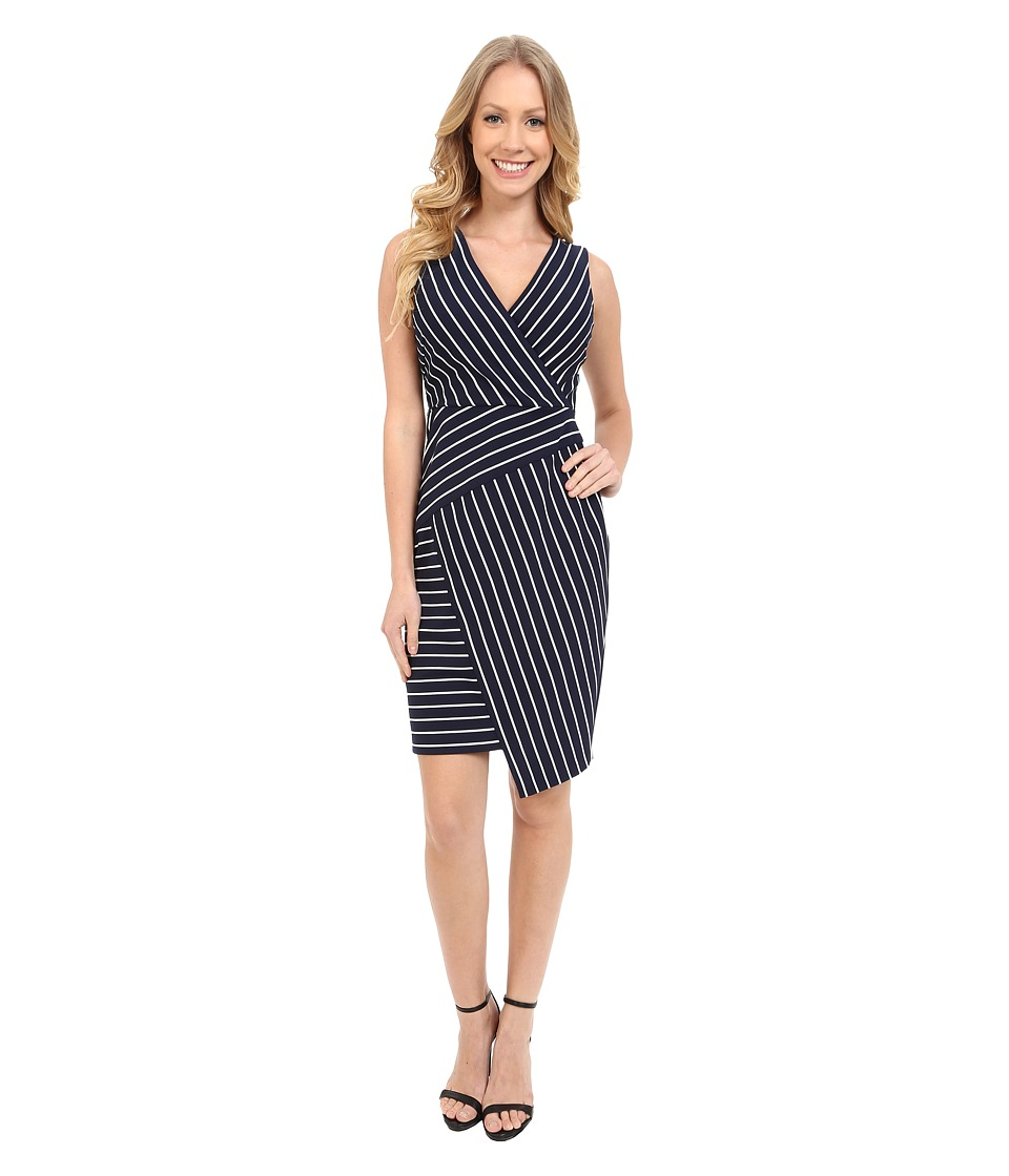 NYDJ - Karly Yarn Dye Ponte Dress (Oxford Blue w/White Stripes) Women's Dress