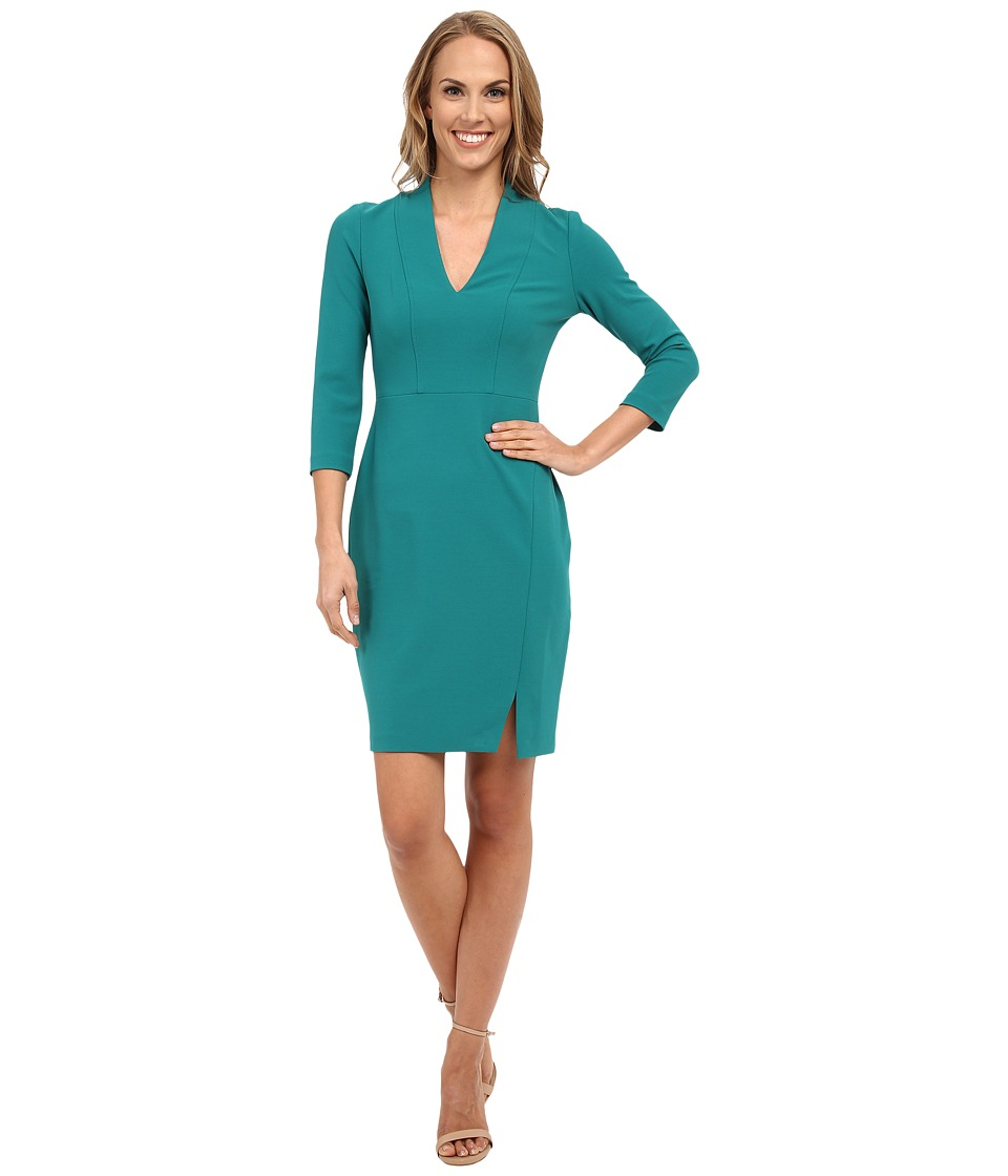 NYDJ - Elise Solid Stretch Crepe Dress (Marine Teal) Women's Dress