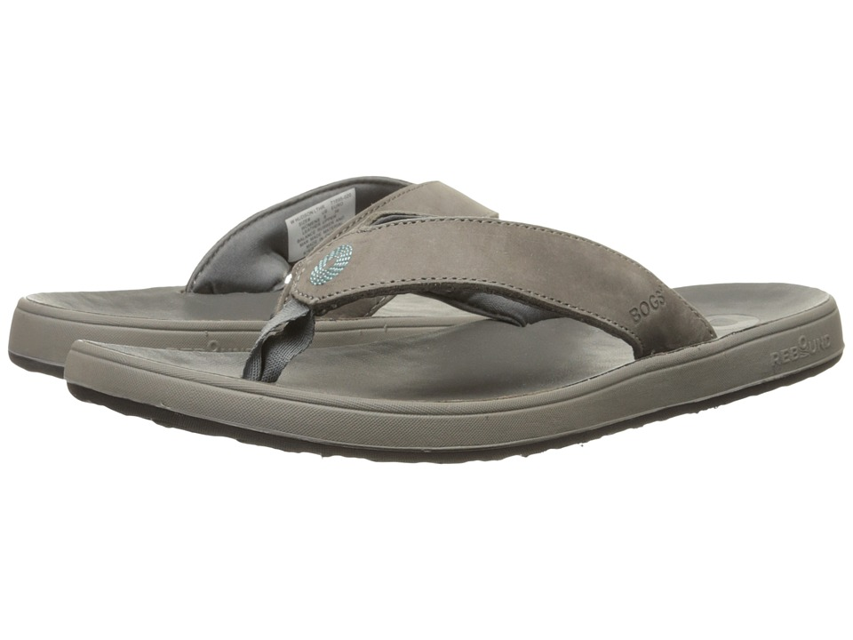 Bogs - Hudson Leather Flip (Gray) Women's Sandals
