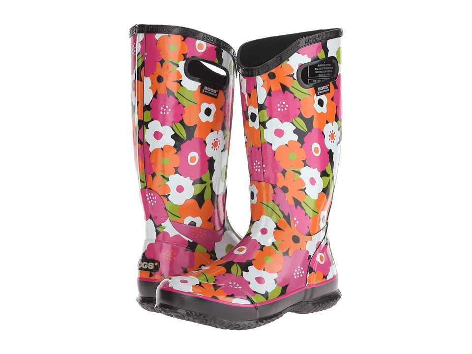 Bogs Spring Flowers Rain Boot (Black Multi) Women
