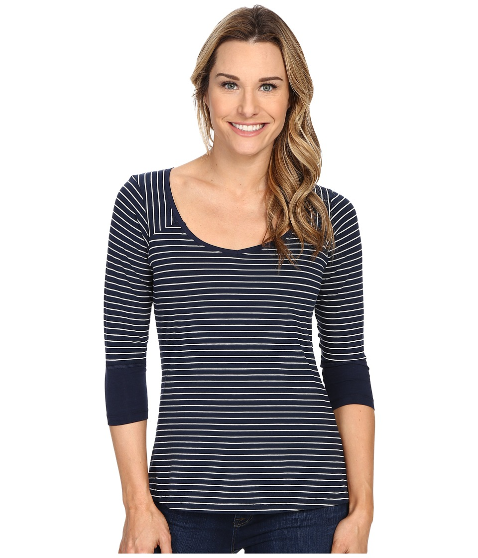 Columbia - Reel Beauty III 3/4 Sleeve Shirt (Collegiate Navy Mini Stripe) Women's Long Sleeve Pullover