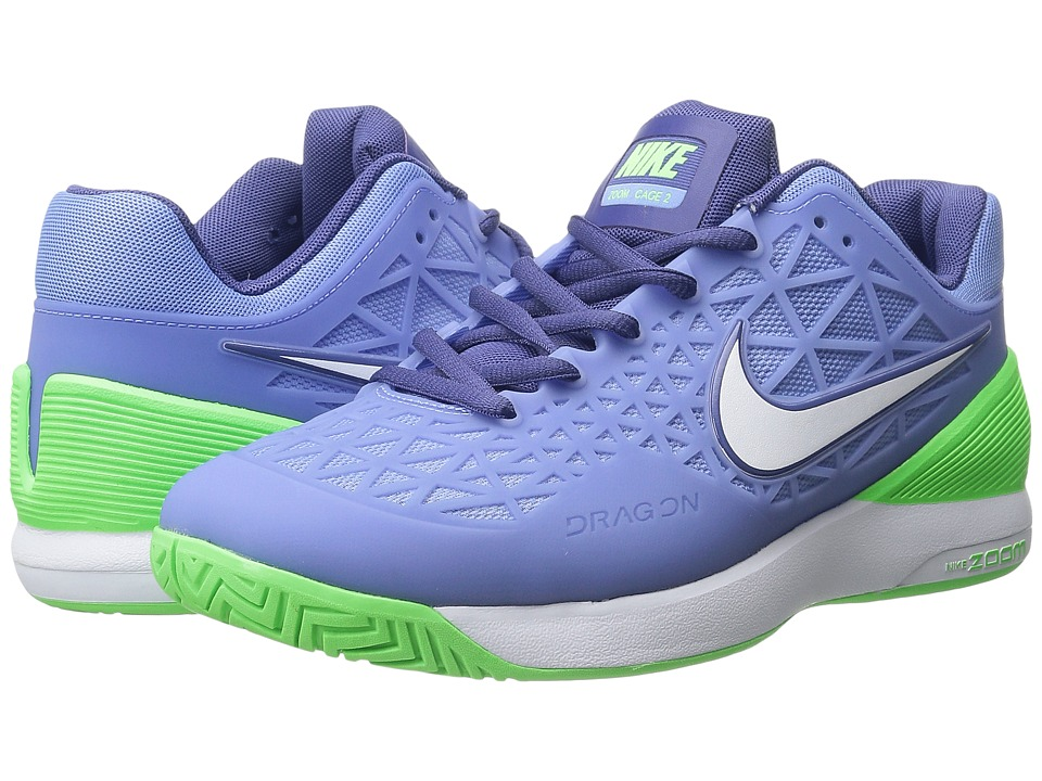 Nike - Zoom Cage 2 (Chalk Blue/Voltage Green/Dark Purple Dust/White) Women's Tennis Shoes