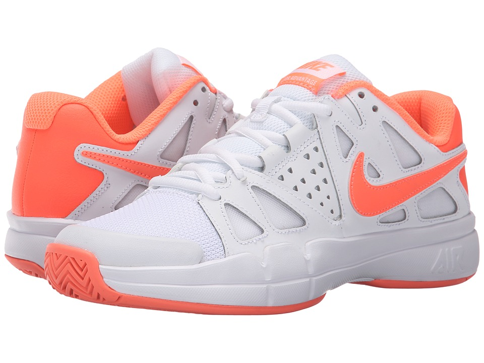 Nike - Air Vapor Advantage (White/Atomic Pink/Bright Mango) Women's Tennis Shoes