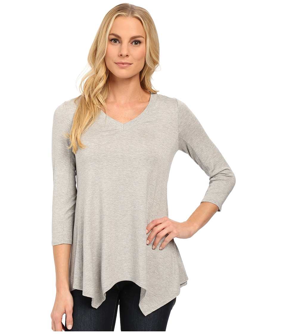 NYDJ - Karen Novelty Scarf Hem Top (Heather Grey) Women's Long Sleeve Pullover
