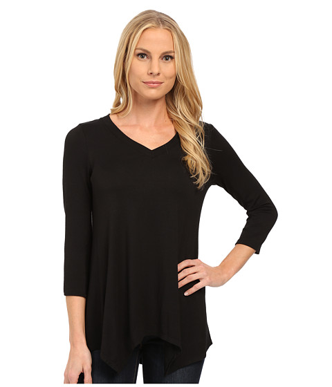 NYDJ - Novelty Scarf Hem Top (Black) Women's T Shirt