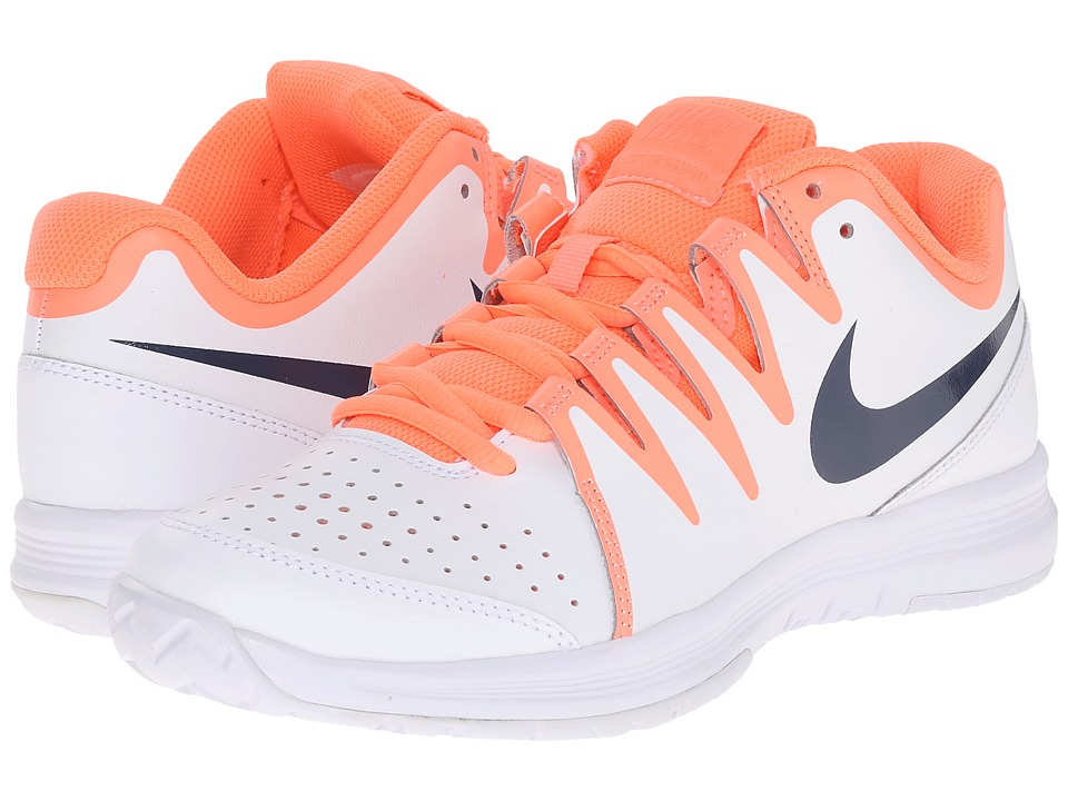 Nike - Vapor Court (White/Bright Mango/Atomic Pink/Obsidian) Women's Tennis Shoes