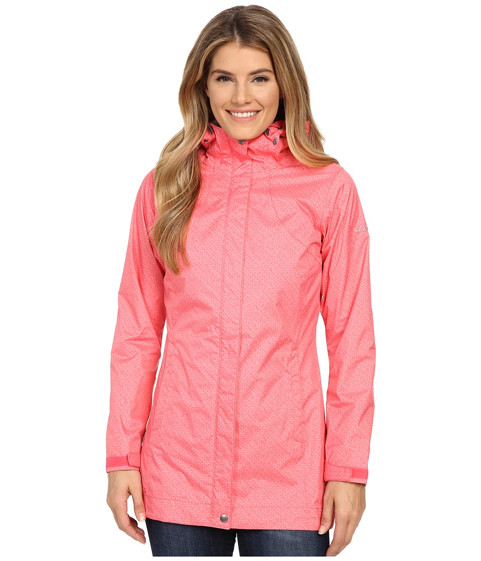 Columbia - Splash A Little Rain Jacket (Bright Geranium Lace Print) Women's Coat