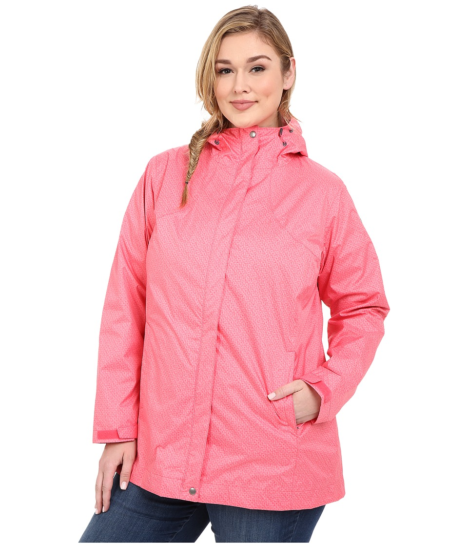 Columbia - Plus Size Splash A Little Rain Jacket (Bright Geranium Lace Print) Women's Coat