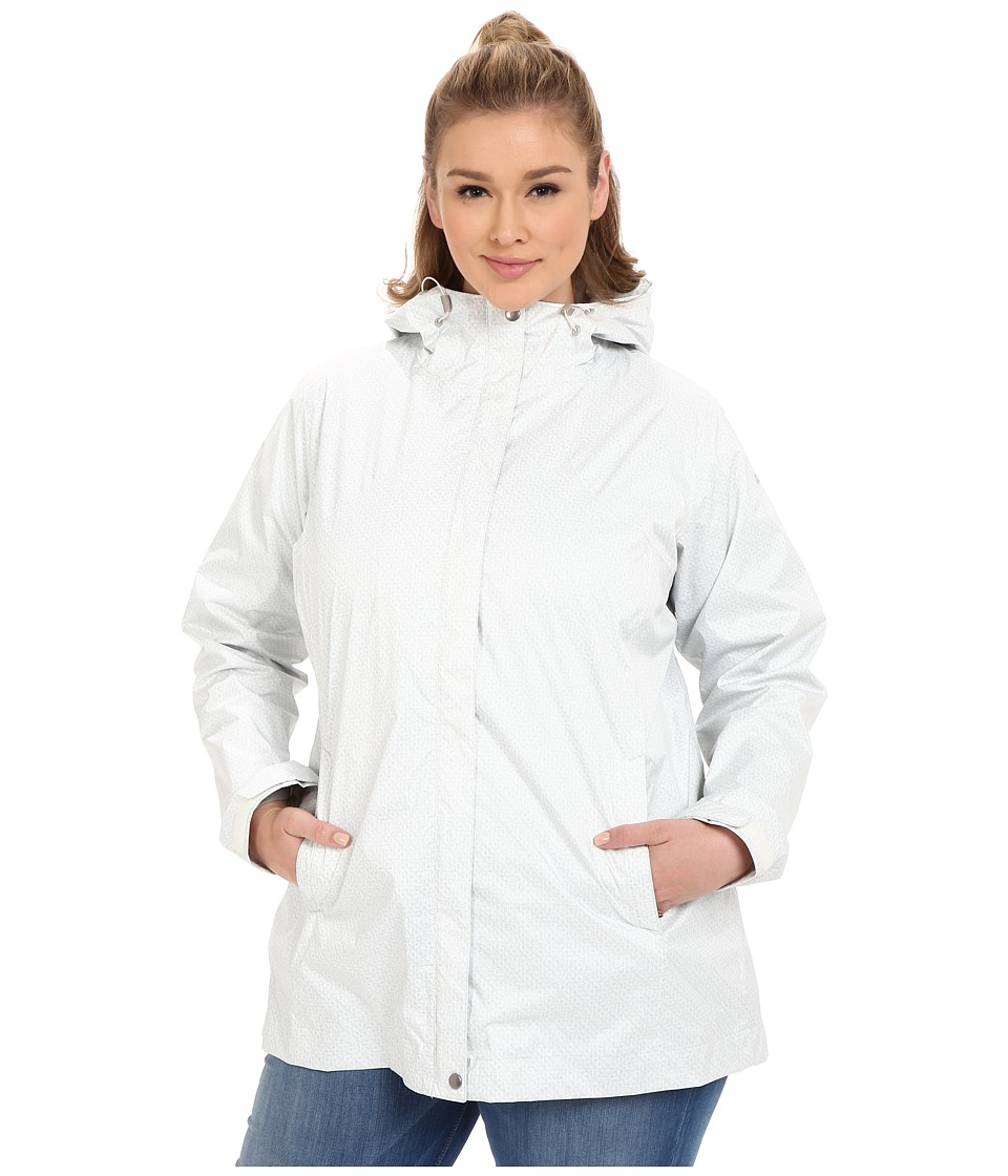 Columbia - Plus Size Splash A Little Rain Jacket (Sea Salt Lace Print) Women's Coat